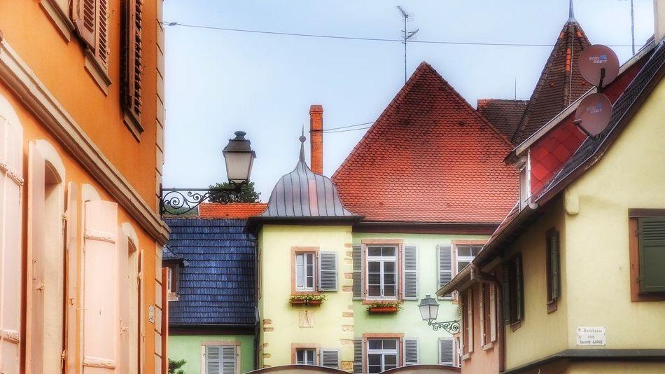 Colorful facades in Alsace, France Façade Facades Colorful Facade Roof Rooftops Roof Top House Houses Houses And Windows Village Lantern Lanterns