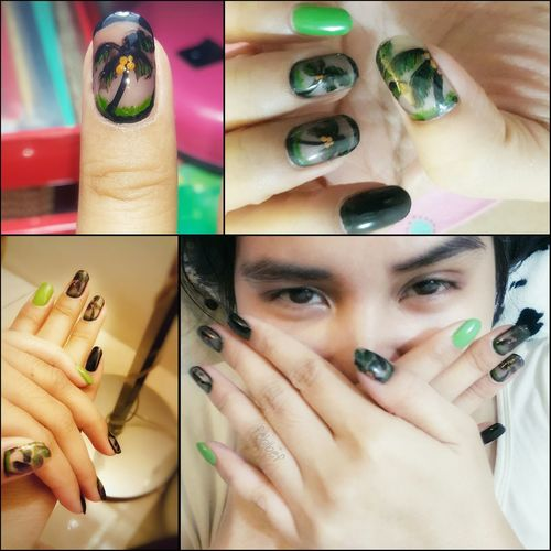 Nails Nailart  Nailartlover Fingernails Nailpolish My Acrilicpaint Art Coconut Tree Nailart My Nail Is My Canvas