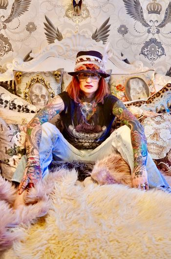 Gypsystyle Tophat Gstar Vanasch Clothes Vanasch Cushions Tattooedgirls Tattooedwomen Tattooed Tattoo One Person Front View Adult People Religion Looking At Camera Indoors  Portrait One Woman Only Day One Young Woman Only