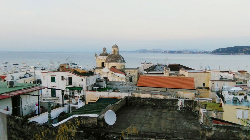 Sea View Ischia Ponte Rooftops EyeEm Italy Harbour View Churchtower Landscape Houses Boats