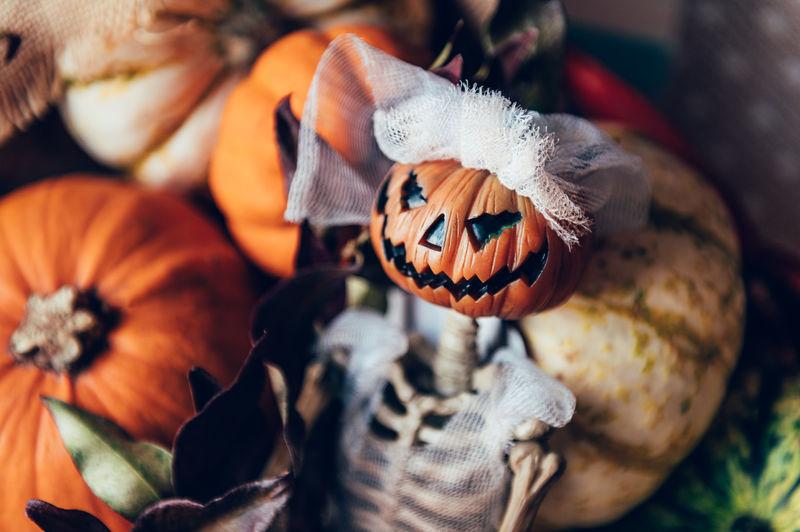 Close-up of pumpkin on pumpkins during halloween