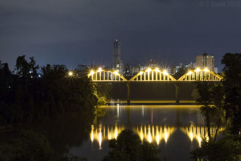 Beauty In Nature City Engenharia Fotos Noturnas De Blumenau; Ponte Dos Arcos Night Ponte Da Sulfabril Ponte Iluminada Rio Itajaí Açú Tranquility Water