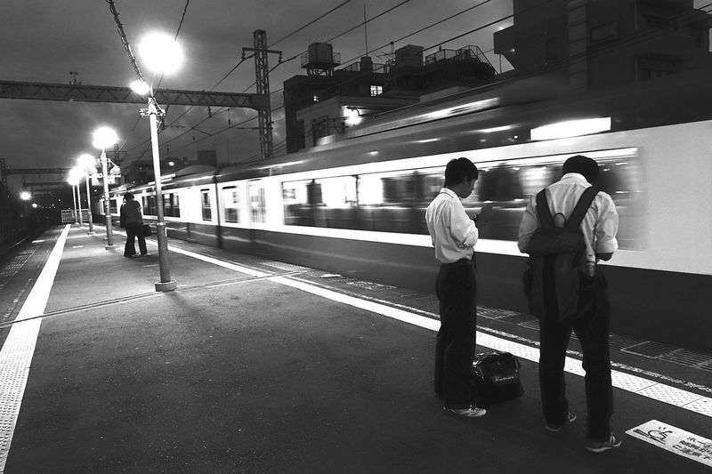 Train Station Station Train Passing Evening Blackandwhite Black And White Monochrome City Life Cityscapes Station Platform Yokohama, Japan Sony Sony Rx100 M3 Rx100m3 横浜 京浜急行 黄金町 On The Way People And Places The City Light