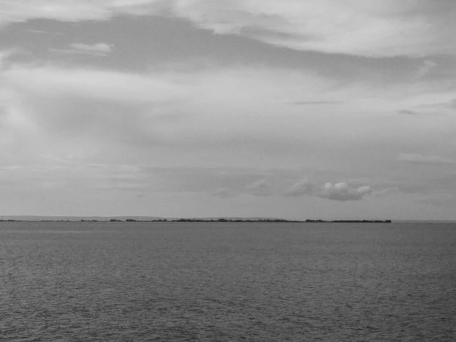 Landscape Island Sky And Clouds Black And White
