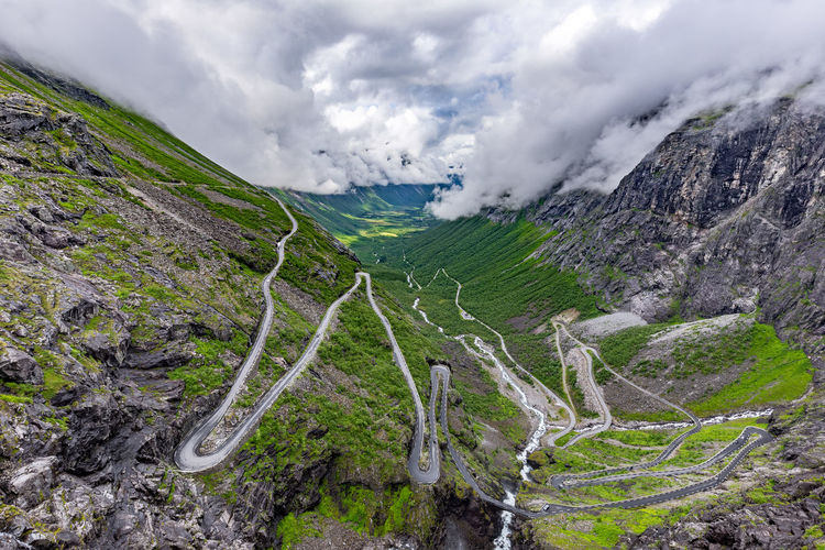 norway wilderness Norway Beauty In Nature Cloud - Sky Day High Angle View Landscape Mountain Mountain Range Mountain Road Nature No People Outdoors Physical Geography Remote Road Scenics Sky Tranquil Scene Tranquility Trollstigen Winding Road