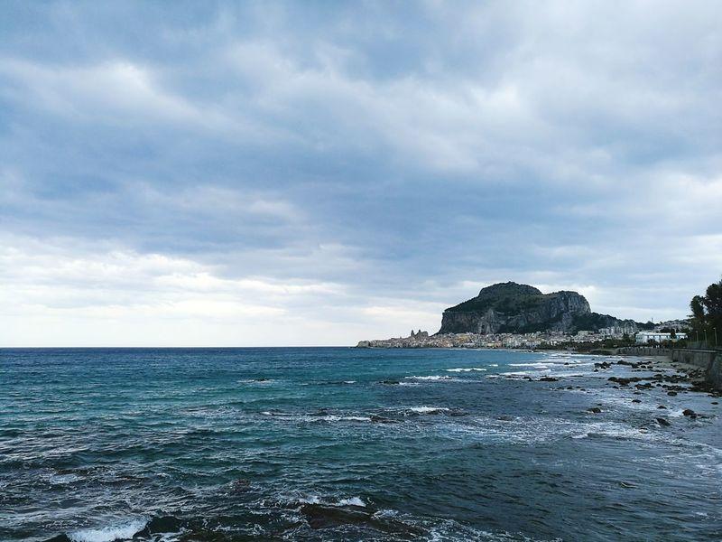 Beach Outdoors Sea Scenics Horizon Over Water Water Cefalú, Sicilia, Mare, Paesaggio HuaweiP9 Huaweiphotography Travel Destinations Coastline Tirreno Tirrenic Sea Rock - Object City View