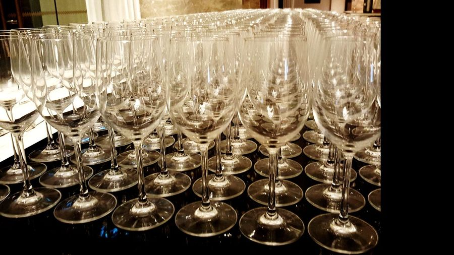 Large Group Of Objects Abundance In A Row Celebration ArrangementBanquet Repetition Drinking Glass No People Indoors  Celebration Event Luxury Elégance Neat Wineglass Illuminated Close-up Day