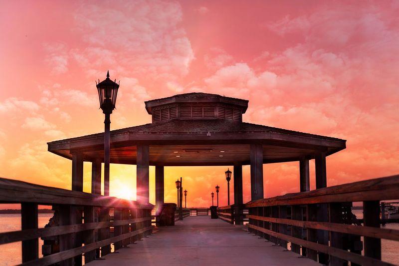 View of bridge at sunset
