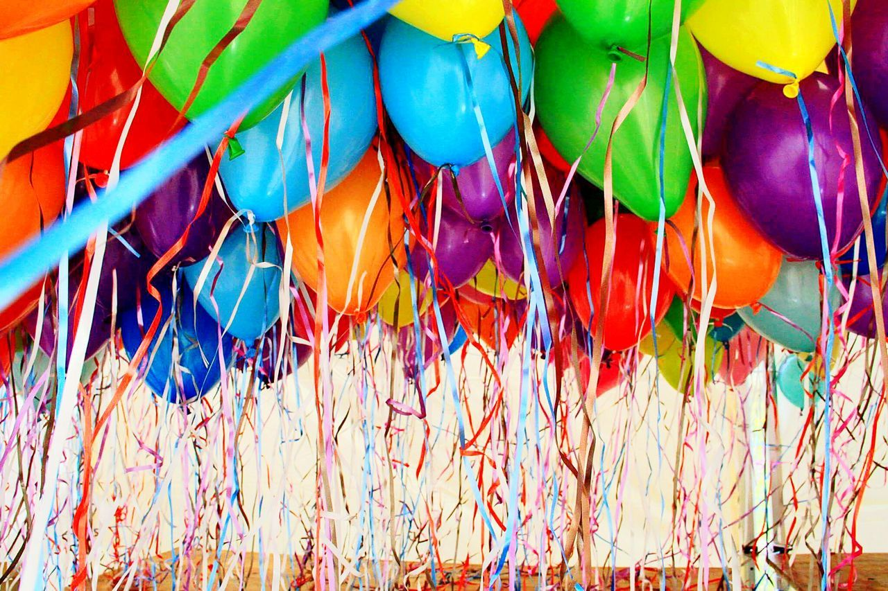 multi colored, celebration, colorful, abundance, variation, large group of objects, balloon, day, no people, outdoors, party - social event, holi