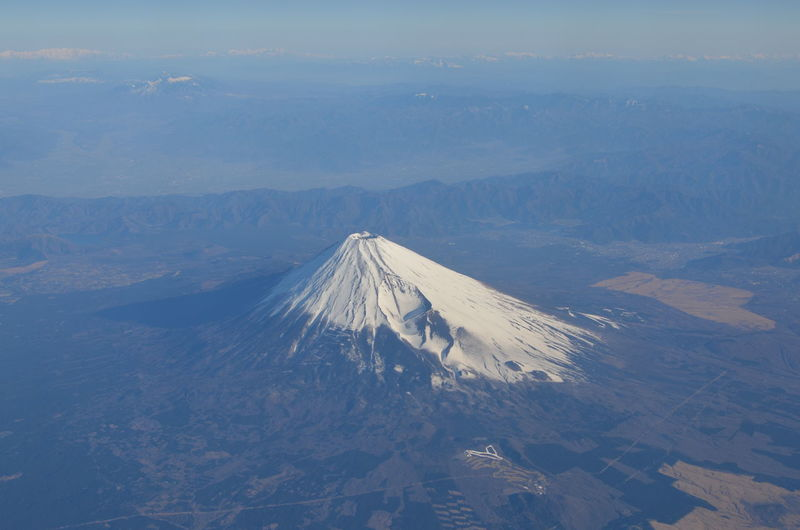 Aerial view of mt fuji