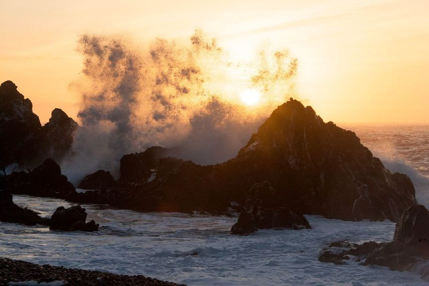 Iceland ist Iceland Snaefellsnes Snæfellsnes Snaefellsnes Peninsula Djúpalónssandur Beach Djúpalónssandur Sea Sunset Beauty In Nature Water Rock - Object Nature Scenics Power In Nature No People Wave Tranquil Scene Tranquility Sky Motion Outdoors Horizon Over Water Day