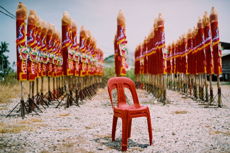 Chair Film Image Giant Dragon Joss Sticks Giant Joss Sticks Huge Dragon Joss Stik In A Row Joss Sticks Large Group Of Objects Leica M6 Film Image No People Outdoors Red Red Chair Taoism