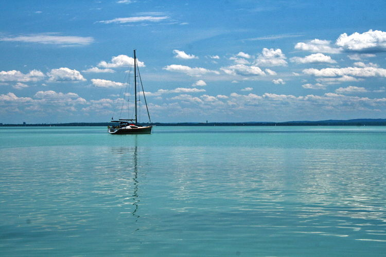 Boat Calm Horizon Over Water Sailboat Sea Tranquility Water Waterfront
