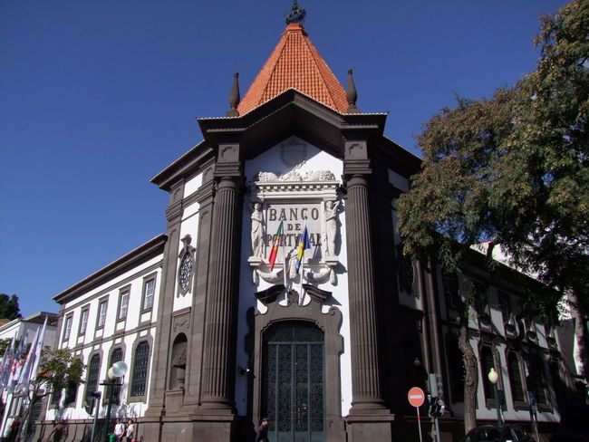 Bank of Portugal Building, Avenida Arriaga City Composition Funchal Madeira Madeira Island Portugal Sunlight And Shade Architecture Bank Bank Building Banking Black And White Colour Blue Sky Building Exterior Building Facade Built Structure Capital City Flag Full Frame Low Angle View No People Outdoor Photography Tree