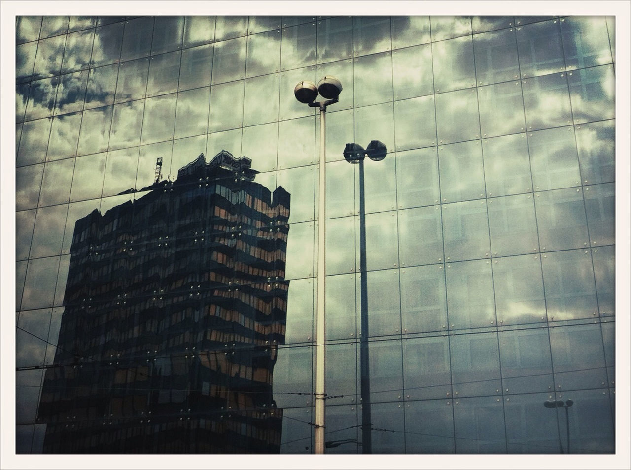 Reflections on glass building
