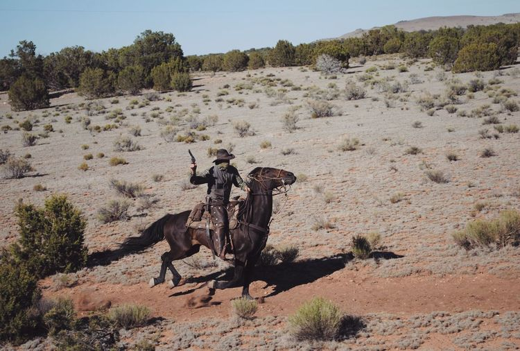 View of bandit on horse