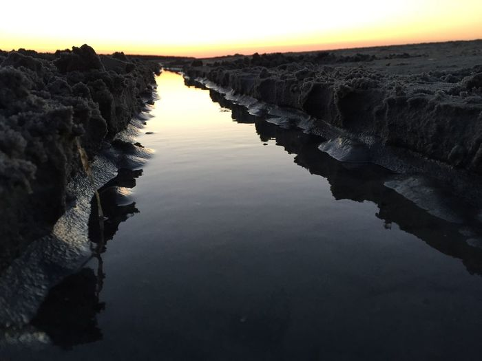 Sand Canyon Beach Life Beach Structure Canyon Prerow Water Sky Reflection Tranquility Sunset Tranquil Scene Nature Beauty In Nature No People Sea Scenics - Nature Land Beach