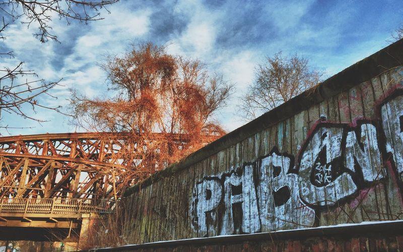 Winter Berlin Wall Abandoned Bridge at Nordbahnhof in Berlin