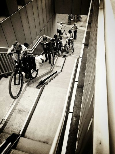 Day Transportation Bike Bikelift Bycicle Byciclelift The Way Up Steps Staircases Noir People Stories From The City