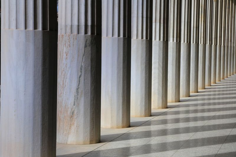 Full frame shot of colonnade in building