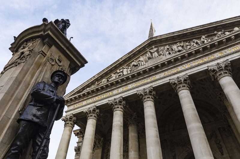 The Royal Exchange, London, England, United Kingdom Architectural Column Architecture Building Exterior Built Structure City Cloud - Sky Day History Low Angle View No People Outdoors Pediment Sculpture Sky Statue Travel Destinations