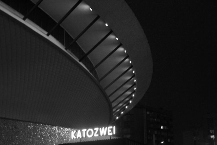 Architecture Arena Blackandwhite Built Structure Illuminated Katowice Low Angle View Monochromatic Monochrome Neon Neon Light Neon Sign Night Night City Night Lights Nightlife No People Outdoors Spodek Spodekkatowice