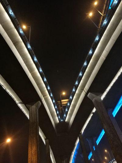 立交桥 Illuminated Bridge - Man Made Structure City Lighting Equipment Architecture Built Structure