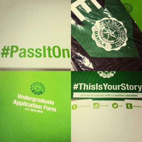 PassItOn ThisIsYourStory DLSU Green Archer entrance exam.Hope to pass the exam.:)Lasallian!HAHAHA.