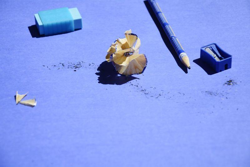 Close-Up Of Pencil, Eraser And Sharpener