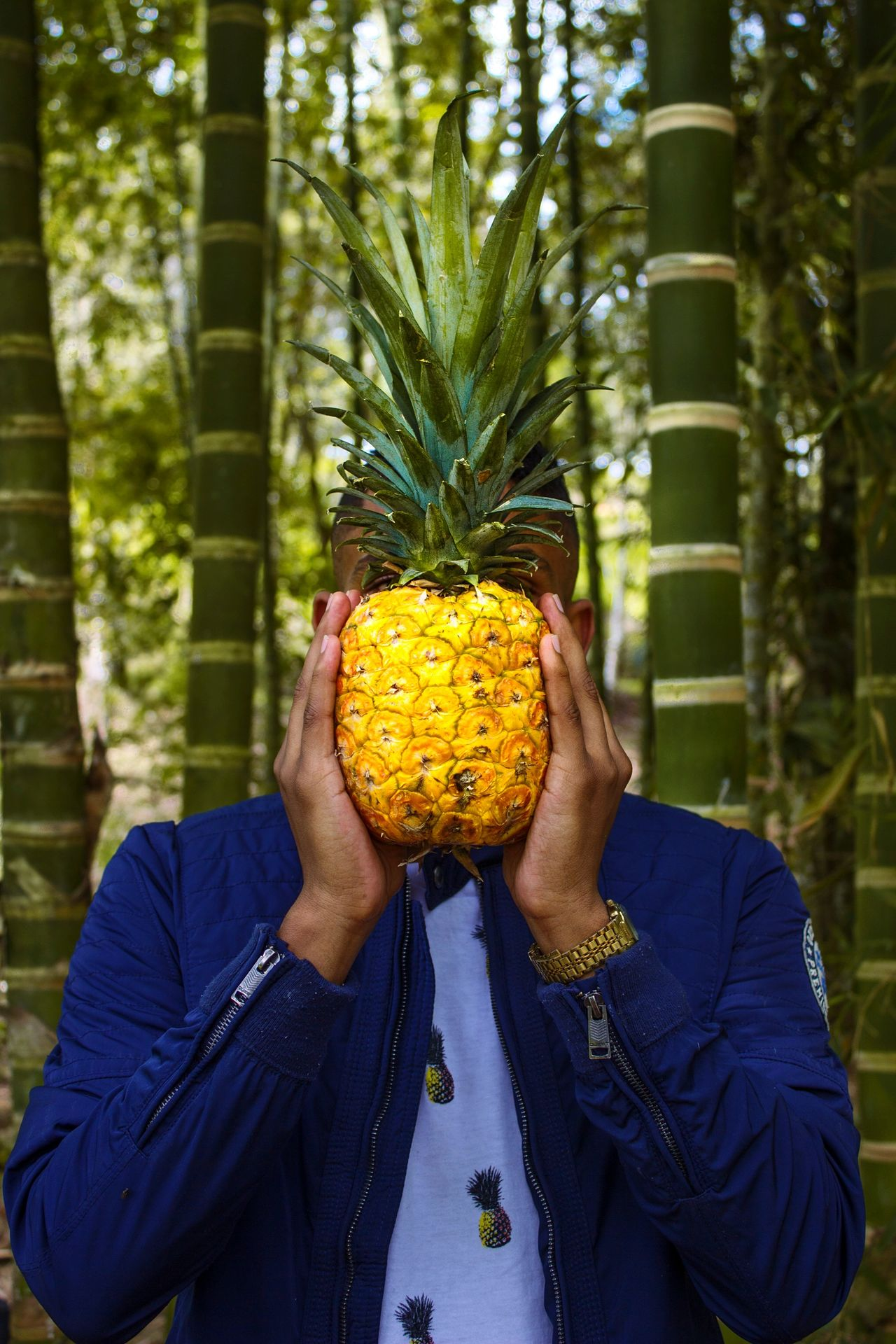 Close-up of man holding pineapple