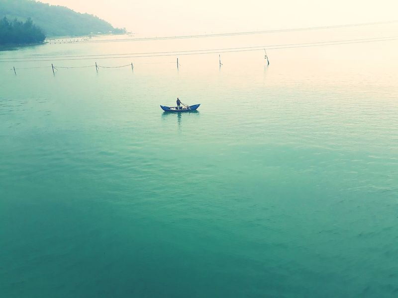 Lăng Cô một ngày đẹp trời Vietnam Huế Trip Withhim Lăng Cô Tranquility Lake Nature Water Outdoors Reflection Mountain Beauty In Nature Nautical Vessel Day Sky People Only Men