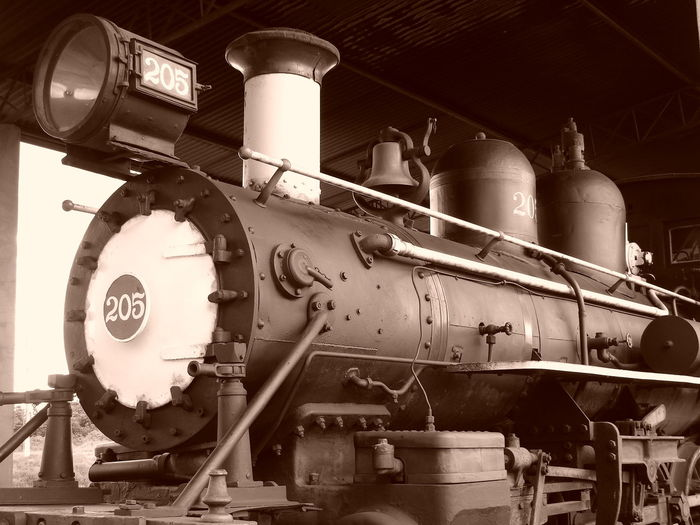 Train in old factory