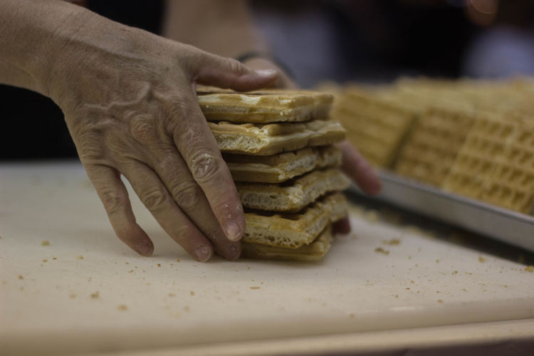 Focus On Foreground Food Food And Drink Food Photography Handmade Hands Hands At Work Person Stack Waffles
