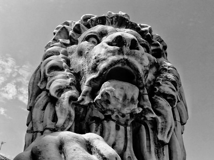 Low angle view of a lion statue against sky