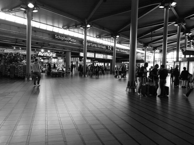 Architecture Tourism People Amsterdam Schiphol Airport Blackandwhite Prospective