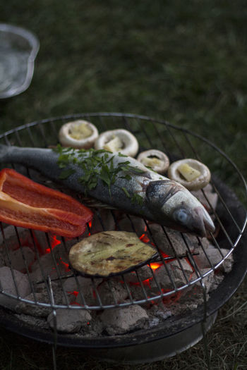 Full Frame Shot Of Fish And Vegetables Grilling Outdoors
