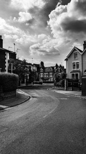 Black & White Cloudscape EyeEm EyeEm Best Shots EyeEm Selects EyeEmBestPics London Architecture Black And White Photography Blackandwhite City Cloud - Sky Clouds And Sky Day No People Outdoors Plant Residential District Road Sky Street Streetphotography Tree