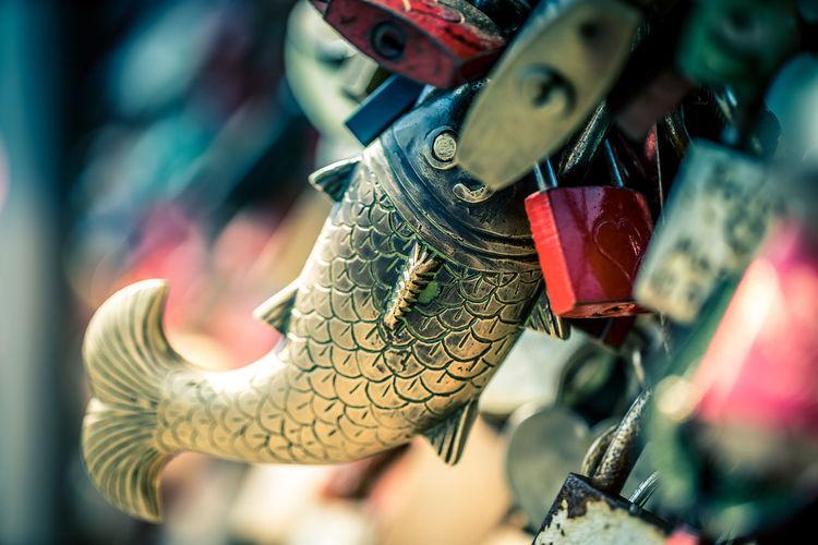 Close-Up Of Golden Fish Shape Love Lock On Railing