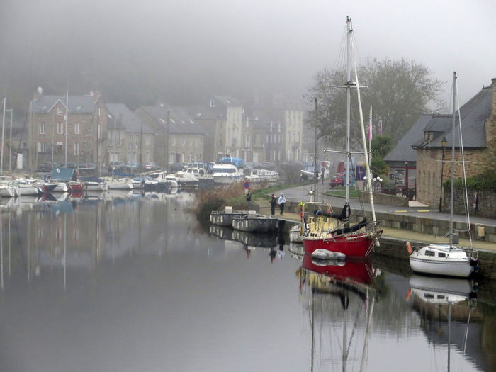 Le port Boat Brittany Fog France Harbor Landscape Mist Mode Of Transport No People Old City Outdoors Quiet Reflection River Water