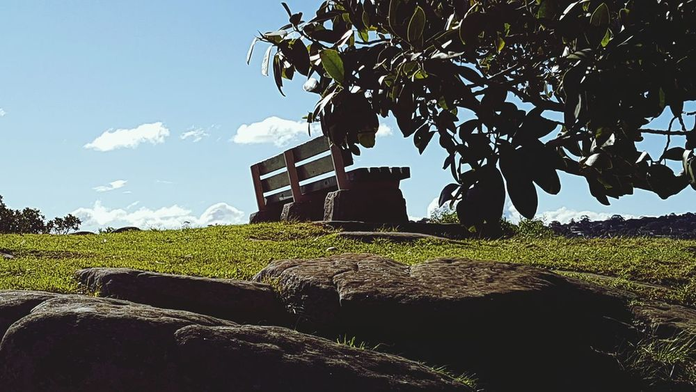 Hilltop Bench Photo By The Hill Blue Sky Nature Photography