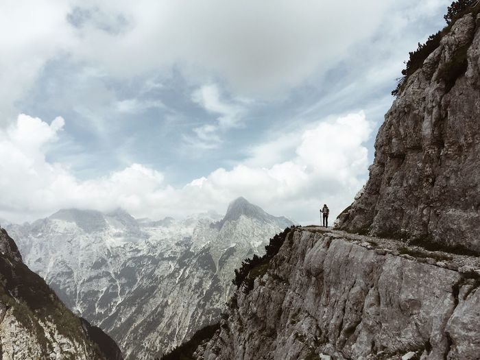 Descent in Julian Alps, Slovenia, Jul 23, 2017. Triglav National Park Triglav Lakes Julian Alps Slovenia IfeelsLOVEnia Hiking Mountain Mountain Range Nature Adventure Cloud - Sky Rock - Object High Hiking One Person Scenics Cliff Outdoors Perspectives On Nature