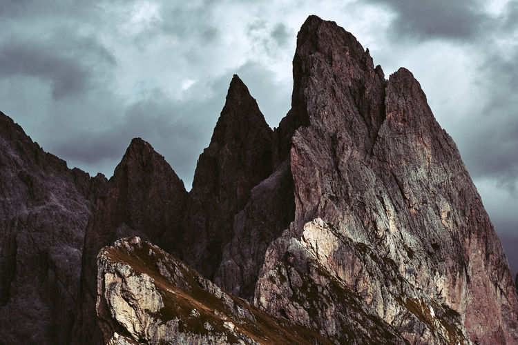 Sass Rigais, Italy Cloud - Sky Sky Rock Beauty In Nature Rock - Object Mountain Rock Formation Mountain Range Solid Nature Scenics - Nature Tranquil Scene Geology Formation Tranquility Day Non-urban Scene No People Rocky Mountains Outdoors Mountain Peak Eroded Sass Rigais Seceda Dolomites