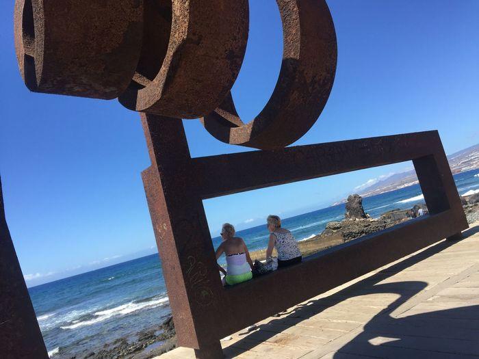 Blue Clear Sky Sky Sea Beach Outdoors People Day Nature Women Who Inspire You Womenintoyphotography Friendship <3 Oldwomen Canary Islands Tenerife PlayadeLasAmerica