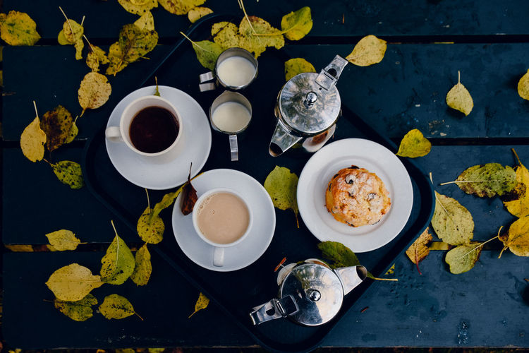 High Angle View Of Autumn Leaves By Breakfast In Tray On Table