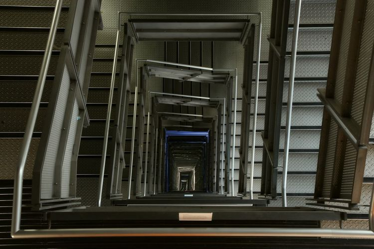 Baltic Art Gallery Architecture Built Structure No People Indoors  Building In A Row Staircase Railing Repetition Day Empty Diminishing Perspective Direction The Way Forward Metal Transportation Pattern Steps And Staircases Baltic Flour Mill Contemporary Art Art