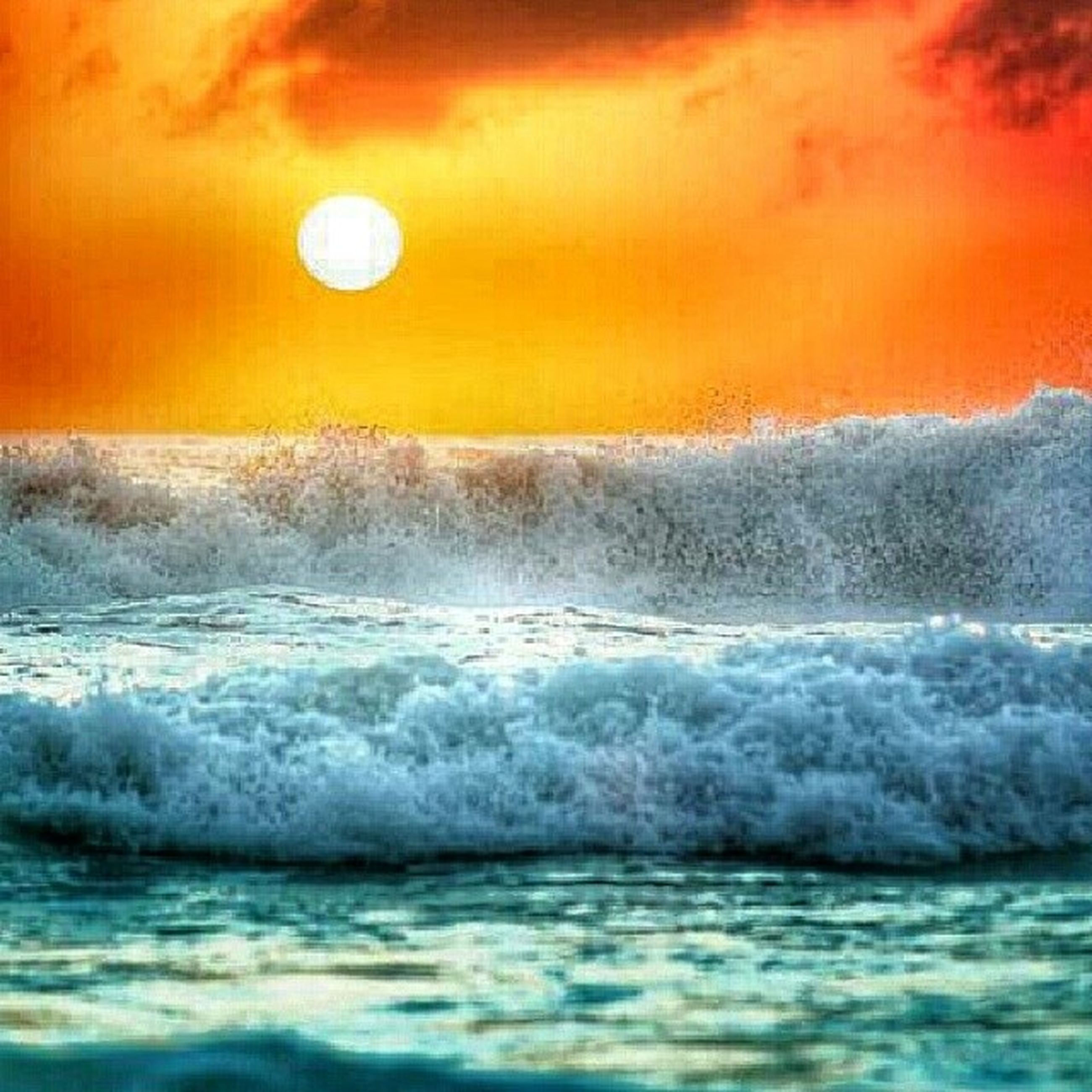 sea, water, sunset, waterfront, horizon over water, wave, scenics, beauty in nature, tranquil scene, nature, orange color, sky, rippled, tranquility, surf, idyllic, seascape, beach, motion, splashing