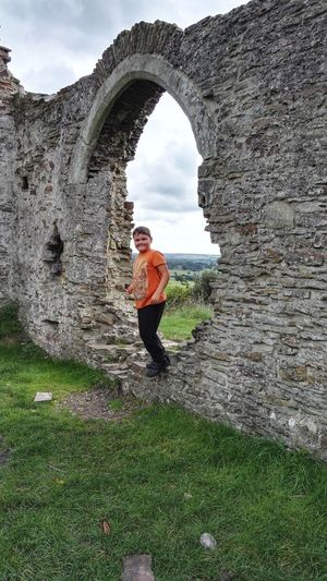 hello Full Length Child Ruin 13th Century Old Ruin Kids Chapel Nature Sky Grass