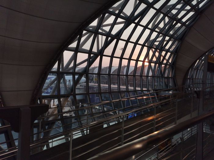 Railroad station platform seen through skylight