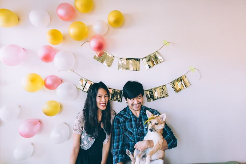 New year's decorations! Gold Colored Garland Balloons Shiba Inu Together January Photobooth Fun Photobooth Party Decoration Party - Social Event Celebrate New Year Around The World New Years New Year's Eve Family Of Three Family Portrait Family With One Child Love is in the air Smiling Two People Happiness Togetherness Young Adult Love Looking At Camera Dog Lifestyles Cheerful Balloon Pets