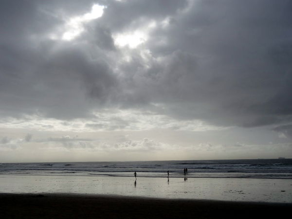 Nature And People Beauty In Nature Silhouette Atlantic Ocean Clouds And Waves Horizon Over Water Winter Surfing Cloud - Sky Fun On The Beach Incidental People On The Beach Rain Over The Ocean Clouds And Sky Waves, Ocean, Nature Waves And Clouds